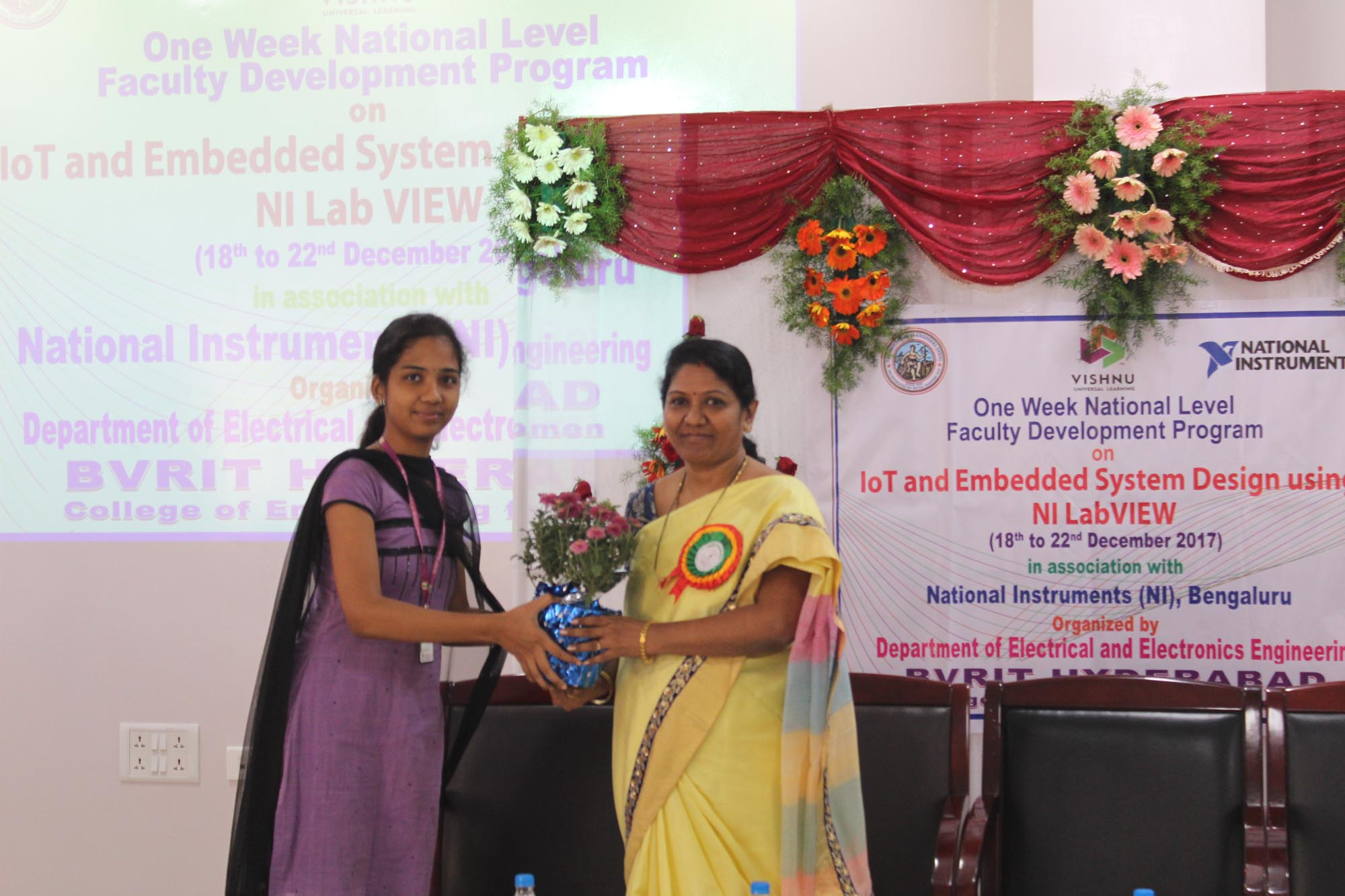 Presenting bouquet to the Principal Dr. KVN Sunitha