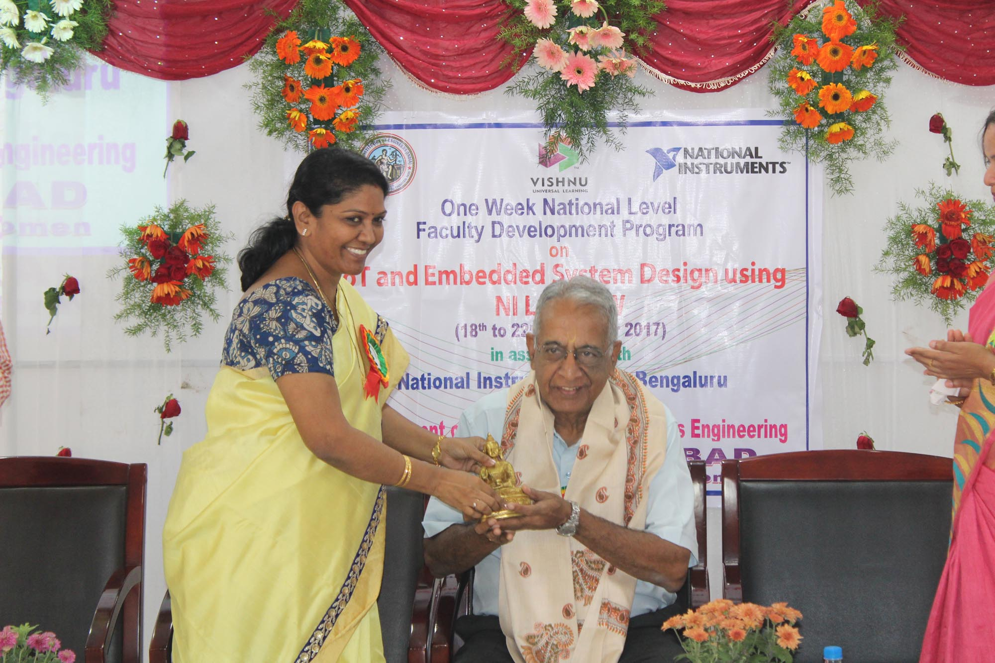 Felicitiation to Prof Jayaraman by Principal Dr. KVN Sunitha